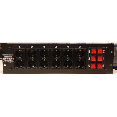 """NIP PDU 6 19"""", 6x16A, bryter, Harting 230/400V 3U"""