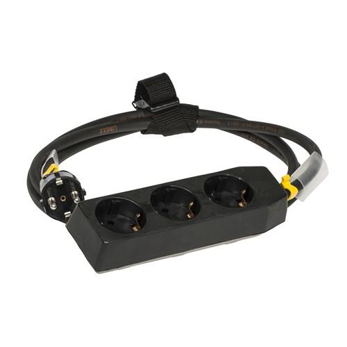 Skjøtekabel 3 veis 10A  2m svart m/stropp og krympestrømpe