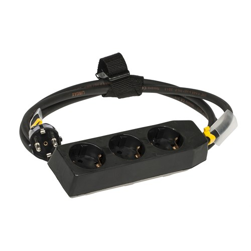 Skjøtekabel 3 veis 10A  3m svart m/stropp og krympestrømpe